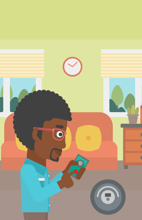 controlling: An african-american man controlling robotic vacuum cleaner with his smartphone in the living room. Vector flat design illustration. Vertical layout.