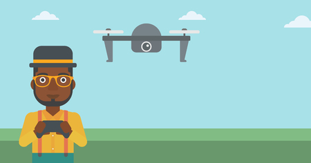 vector control illustration: An african-american man flying drone with remote control. Man operating a drone with remote control. Man controling a drone. Vector flat design illustration. Horizontal layout.