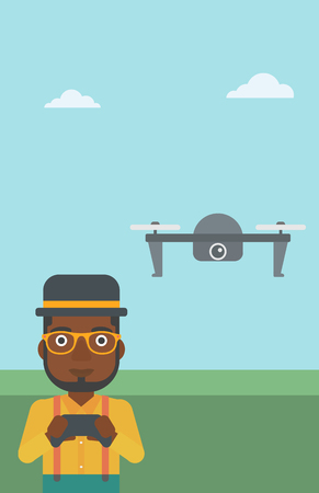 vector control illustration: An african-american man flying drone with remote control. Man operating a drone with remote control. Man controling a drone. Vector flat design illustration. Vertical layout.