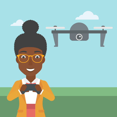 vector control illustration: An african-american woman  flying drone with remote control. Happy woman operating a drone with remote control. Woman controling a drone. Vector flat design illustration. Square layout. Illustration