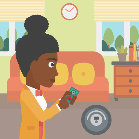 vector control illustration: An african-american woman controlling robot vacuum cleaner with smartphone. Woman holding remote control of robotic vacuum cleaner in living room. Vector flat design illustration. Square layout.