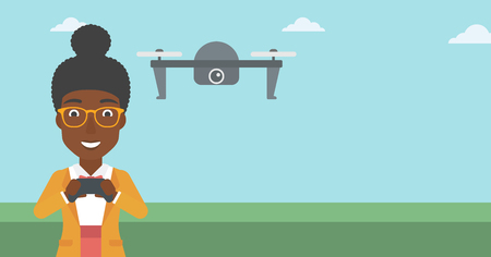 vector control illustration: An african-american woman flying drone with remote control. Happy woman operating a drone with remote control. Woman controling a drone. Vector flat design illustration. Horizontal layout.