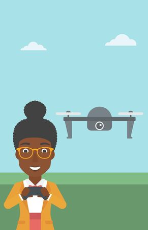 An african-american woman flying drone with remote control. Happy woman operating a drone with remote control. Woman controling a drone. Vector flat design illustration. Vertical layout. Vectores