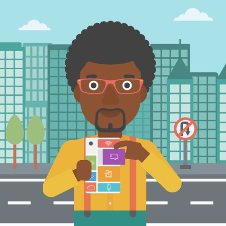 repurpose: An african-american man holding modular phone. Young man with modular phone on a city background. Man using modular phone. Vector flat design illustration. Square layout.