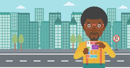 modular: An african-american man holding modular phone. Young man with modular phone on a city background. Man using modular phone. Vector flat design illustration. Horizontal layout.