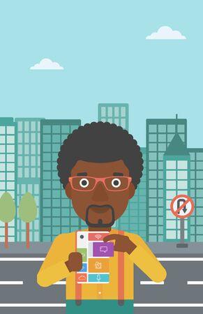 repurpose: An african-american man holding modular phone. Young man with modular phone on a city background. Man using modular phone. Vector flat design illustration. Vertical layout.
