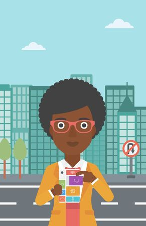 woman on phone: An african-american woman holding modular phone. Woman with modular phone standing on a city background. Woman using modular phone. Vector flat design illustration. Vertical layout. Illustration