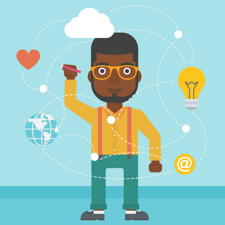 writing on screen: An african-american man writing on a virtual screen. Businessman drawing a cloud computing diagram on a virtual screen. Cloud computing concept. Vector flat design illustration. Square layout.
