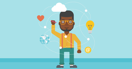 writing on screen: An african-american man writing on a virtual screen. Businessman drawing a cloud computing diagram on a virtual screen. Cloud computing concept. Vector flat design illustration. Horizontal layout.