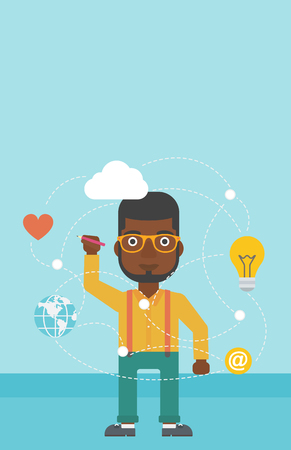 writing on screen: An african-american man writing on a virtual screen. Businessman drawing a cloud computing diagram on a virtual screen. Cloud computing concept. Vector flat design illustration. Vertical layout. Illustration
