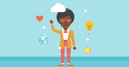 writing on screen: African-american woman writing on a virtual screen. Business woman drawing a cloud computing diagram on a virtual screen. Cloud computing concept. Vector flat design illustration. Horizontal layout.