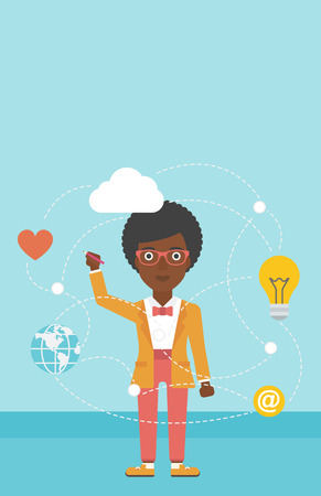 writing on screen: An african-american woman writing on a virtual screen. Business woman drawing a cloud computing diagram on a virtual screen. Cloud computing concept. Vector flat design illustration. Vertical layout.