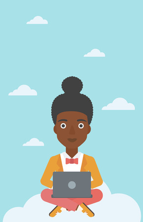woman laptop happy: An african-american woman sitting on a cloud with a laptop on her knees. Happy woman using cloud computing technology. Cloud computing concept. Vector flat design illustration. Vertical layout.
