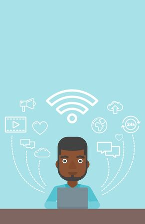 him: An african-american man working on a laptop and social computer network icons above him. Vector flat design illustration. Vertical layout.