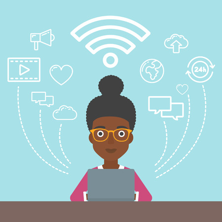 him: An african-american woman  working on a laptop and social computer network icons above him. Vector flat design illustration. Square layout.