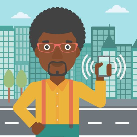 answering: An african-american man holding ringing mobile phone on a city background. Man answering a phone call. Man with ringing phone in hand. Vector flat design illustration. Square layout. Illustration