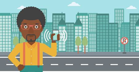 answering phone: An african-american man holding ringing mobile phone on a city background. Man answering a phone call. Man with ringing phone in hand. Vector flat design illustration. Horizontal layout. Illustration