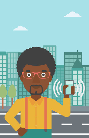 phone and call: An african-american man holding ringing mobile phone on a city background. Man answering a phone call. Man with ringing phone in hand. Vector flat design illustration. Vertical layout.