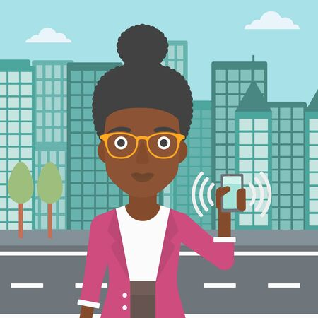 An african-american woman holding ringing mobile phone on a city background. Woman answering a phone call. Woman with ringing phone in hand. Vector flat design illustration. Square layout.