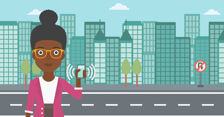 woman on phone: An african-american woman holding ringing mobile phone on a city background. Woman answering a phone call. Woman with ringing phone in hand. Vector flat design illustration. Horizontal layout.