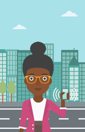 woman on phone: An african-american woman holding ringing mobile phone on a city background. Woman answering a phone call. Woman with ringing phone in hand. Vector flat design illustration. Vertical layout.
