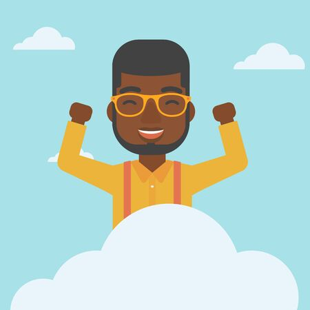 hands raised sky: An african-american happy man with raised hands sitting on a cloud on the background of blue sky. Cloud computing concept. Vector flat design illustration. Square layout. Vectores