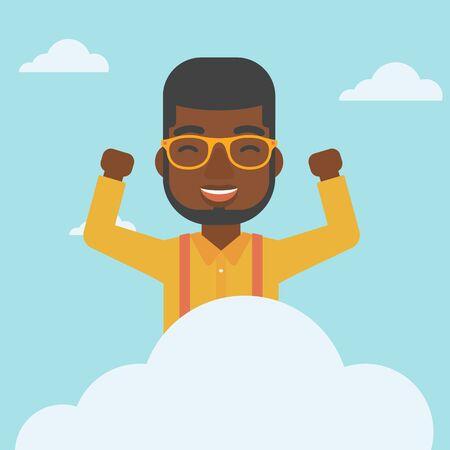 manos levantadas al cielo: Un hombre afroamericana feliz con las manos levantadas sentado en una nube en el fondo de cielo azul. concepto de computación en la nube. Vector de diseño plano ilustración. de planta cuadrada.