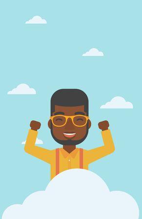 manos levantadas al cielo: Un hombre afroamericana feliz con las manos levantadas sentado en una nube en el fondo de cielo azul. concepto de computación en la nube. Vector de diseño plano ilustración. disposición vertical. Vectores