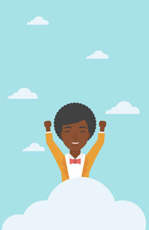 hands raised sky: An african-american happy woman with raised hands sitting on a cloud on the background of blue sky. Cloud computing concept. Vector flat design illustration. Vertical layout.