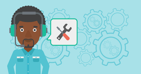 technical assistant: An african-american operator of technical support wearing headphone set. Technical support operator and speech square with screwdriver and wrench. Vector flat design illustration. Horizontal layout.