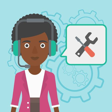 technical assistant: An african-american operator of technical support wearing headphone set. Technical support operator and speech square with screwdriver and wrench. Vector flat design illustration. Square layout.