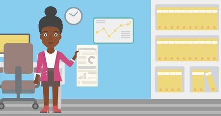 An african-american woman showing her business presentation with some text and charts. Woman giving a business presentation in the office. Vector flat design illustration. Horizontal layout.