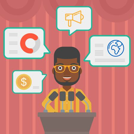 conference speaker: An african-american speaker standing at podium with microphones at business conference. Speaker giving speech at podium and speech squares around him. Vector flat design illustration. Square layout.
