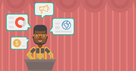 business conference: African-american speaker standing at podium with microphones at business conference. Speaker giving speech at podium and speech squares around him. Vector flat design illustration. Horizontal layout. Illustration