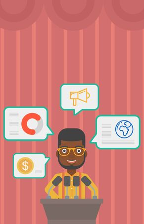 conference speaker: An african-american speaker standing at podium with microphones at business conference. Speaker giving speech at podium and speech squares around him. Vector flat design illustration. Vertical layout.