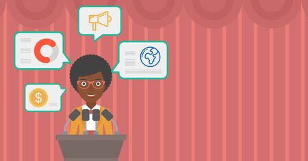 business conference: African-american speaker standing on podium with microphones at business conference. Woman giving speech at podium and speech squares around her. Vector flat design illustration. Hhorizontal layout. Illustration