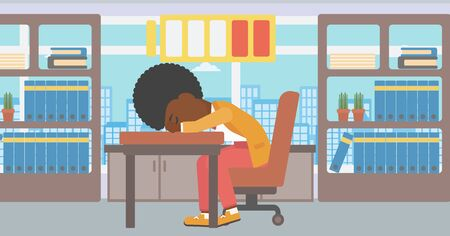 woman laptop: An african-american woman sleeping at workplace on laptop keyboard and low power battery sign over her head. Business woman sleeping in office. Vector flat design illustration. Horizontal layout. Illustration