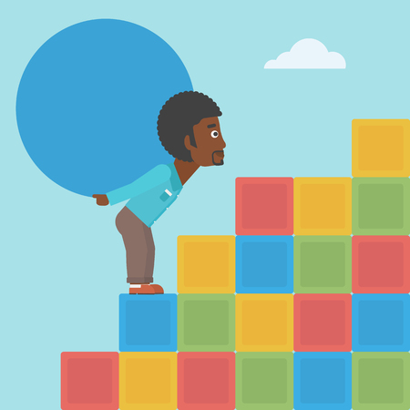 uphill: An african-american man rising up on the colored cubes and carrying a big stone on his back. Man with huge concrete ball. Vector flat design illustration. Square layout.