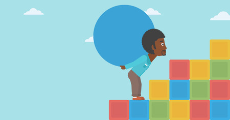 sisyphus: An african-american man rising up on the colored cubes and carrying a big stone on his back. Man with huge concrete ball. Vector flat design illustration. Horizontal layout.