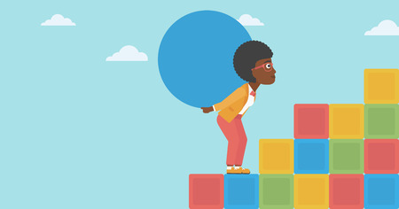 uphill: An african-american woman rising up on the colored cubes and carrying a big stone on her back. Woman with huge concrete ball going up. Vector flat design illustration. Horizontal layout. Illustration