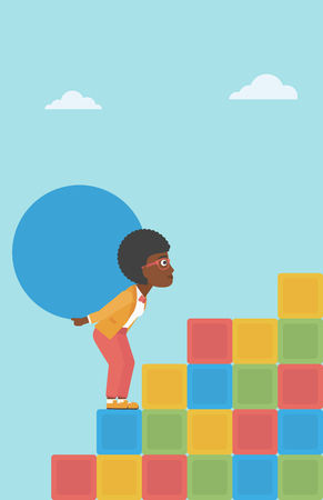 sisyphus: An african-american woman rising up on the colored cubes and carrying a big stone on her back. Woman with huge concrete ball going up. Vector flat design illustration. Vertical layout.