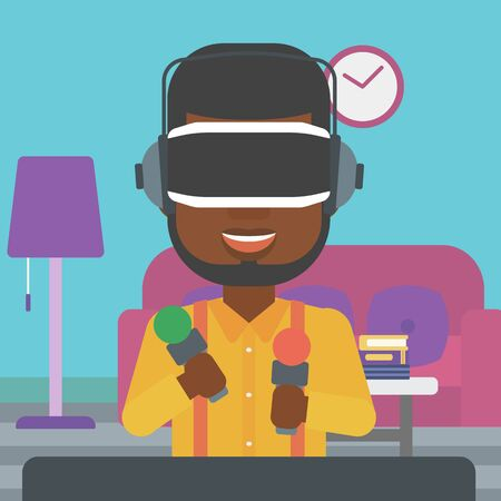 move controller: An african-american man wearing virtual reality headset and holding motion controllers in hands. Man playing video games in apartment. Vector flat design illustration. Square layout.