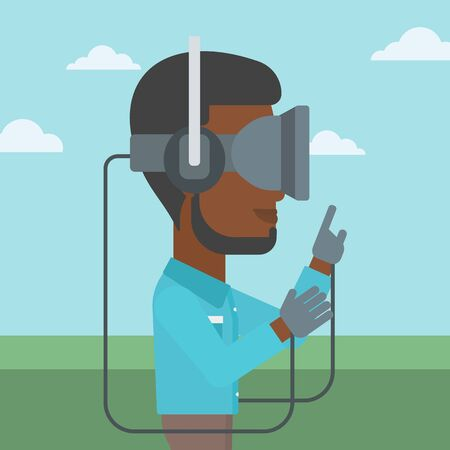 playing video games: An african-american man wearing a virtual reality headset. Man playing video games outdoor. Man wearing gamer gloves. Vector flat design illustration. Square layout. Illustration