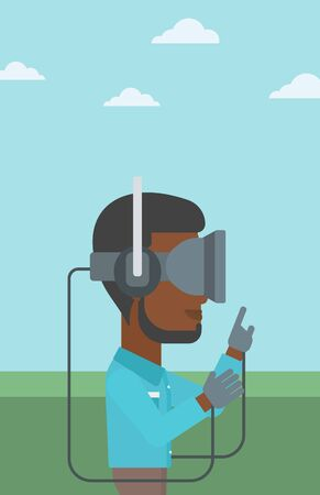 playing video games: An african-american man wearing a virtual reality headset. Man playing video games outdoor. Man wearing gamer gloves. Vector flat design illustration. Vertical layout.