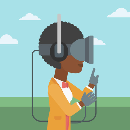 playing video games: An african-american woman  wearing a virtual reality headset. Woman playing video games outdoor. Woman wearing gamer gloves. Vector flat design illustration. Square layout.