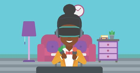 move controller: An african-american woman wearing a virtual reality headset and holding motion controllers in hands. Woman playing video games in apartment. Vector flat design illustration. Horizontal layout.