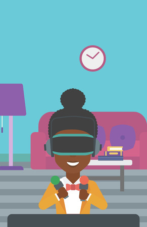move controller: An african-american woman wearing a virtual reality headset and holding motion controllers in hands. Woman playing video games in apartment. Vector flat design illustration. Vertical layout.