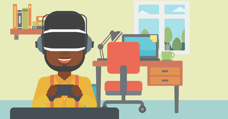 game controller: An african-american man wearing a virtual reality headset. Young man playing video game with game controller in hands. Vector flat design illustration. Horizontal layout. Illustration