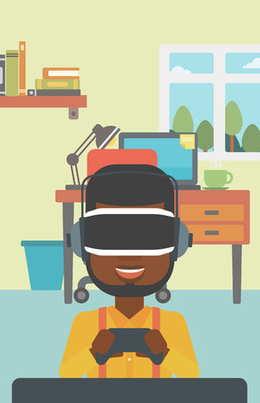 game controller: An african-american man wearing a virtual reality headset. Young man playing video game with game controller in hands. Vector flat design illustration. Vertical layout. Illustration