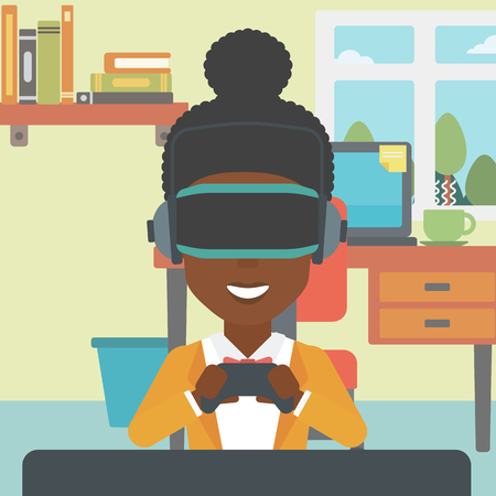 game controller: An african-american woman  wearing a virtual reality headset. Smiling woman playing video games with a wireless game controller in hands. Vector flat design illustration. Square layout.